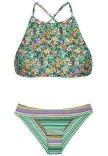Crop top bikini med blomstermønster/striber - IEMANJA SPORTY