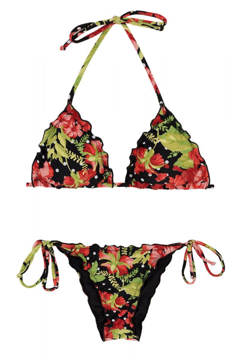 Scrunch bikini wavy edges in flowers and polka dot print - ILHA BELA FRUFRU