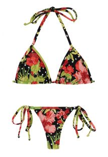 Side-tie string bikini in floral and polka dot print - ILHA BELA MICRO