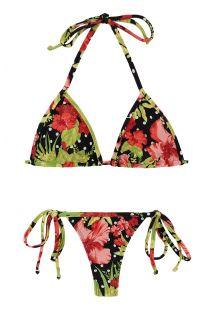 String bikini med knyting på sidenei blomstrete og prikkete mønster - ILHA BELA MICRO