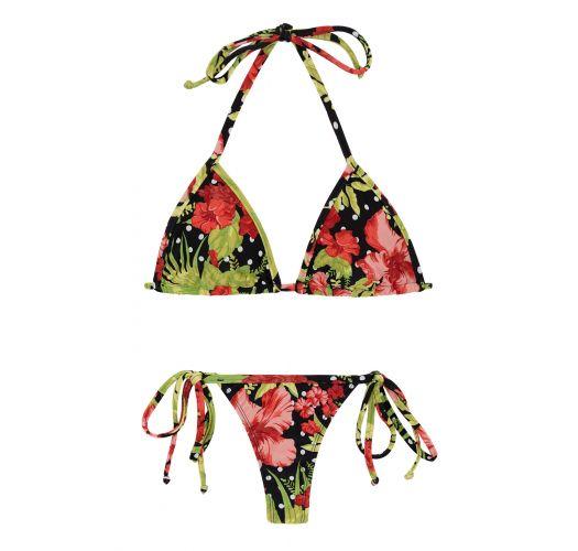 Maillot de bain string imprimé floral/pois - ILHA BELA MICRO