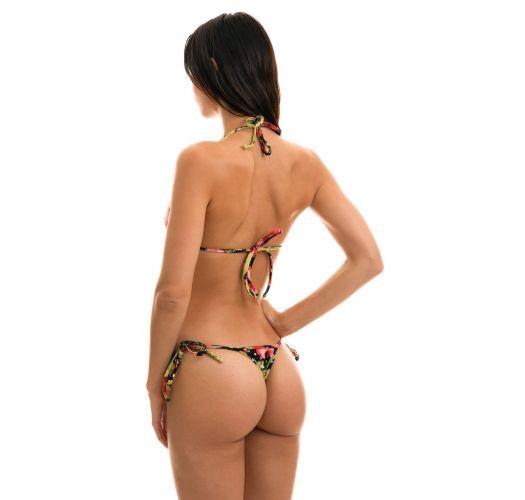 Side-tie string bikini in floral and polka dot print - ILHA BELA MICRO
