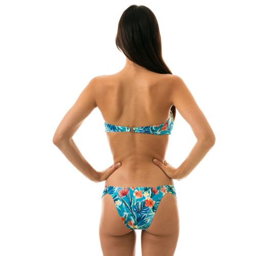 Floral blue fixed bikini with bandeau top - ISLA BAND COMFORT