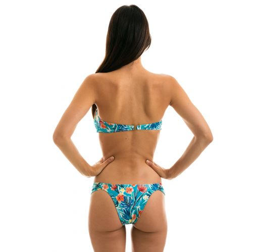 Bikini bandeau noué bleu fleuri  - ISLA BANDEAU