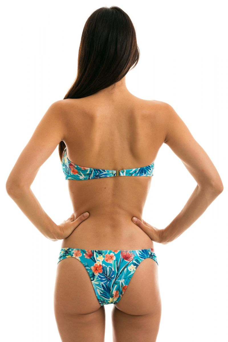 Floral blue fixed Brazilian bikini with bandeau top with front knot - ISLA BANDEAU