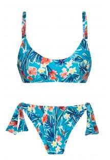 Floral blue side-tie scrunch bikini with adjustable straps - ISLA BRA