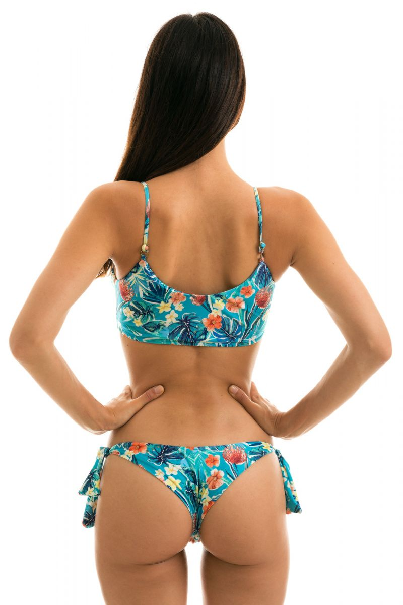 Geblümter verstellbarer Bustier Bikini - ISLA BRA