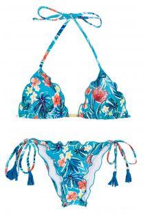 Biquíni brasileiro franzido azul floral c/ rebordos ondulados - ISLA FRUFRU