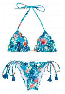 Floral blue side-tie scrunch bikini - ISLA FRUFRU