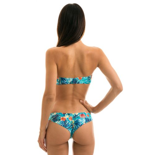 Bikini bandeau bleu fleuri et tanga scrunch fixe - ISLA RETO
