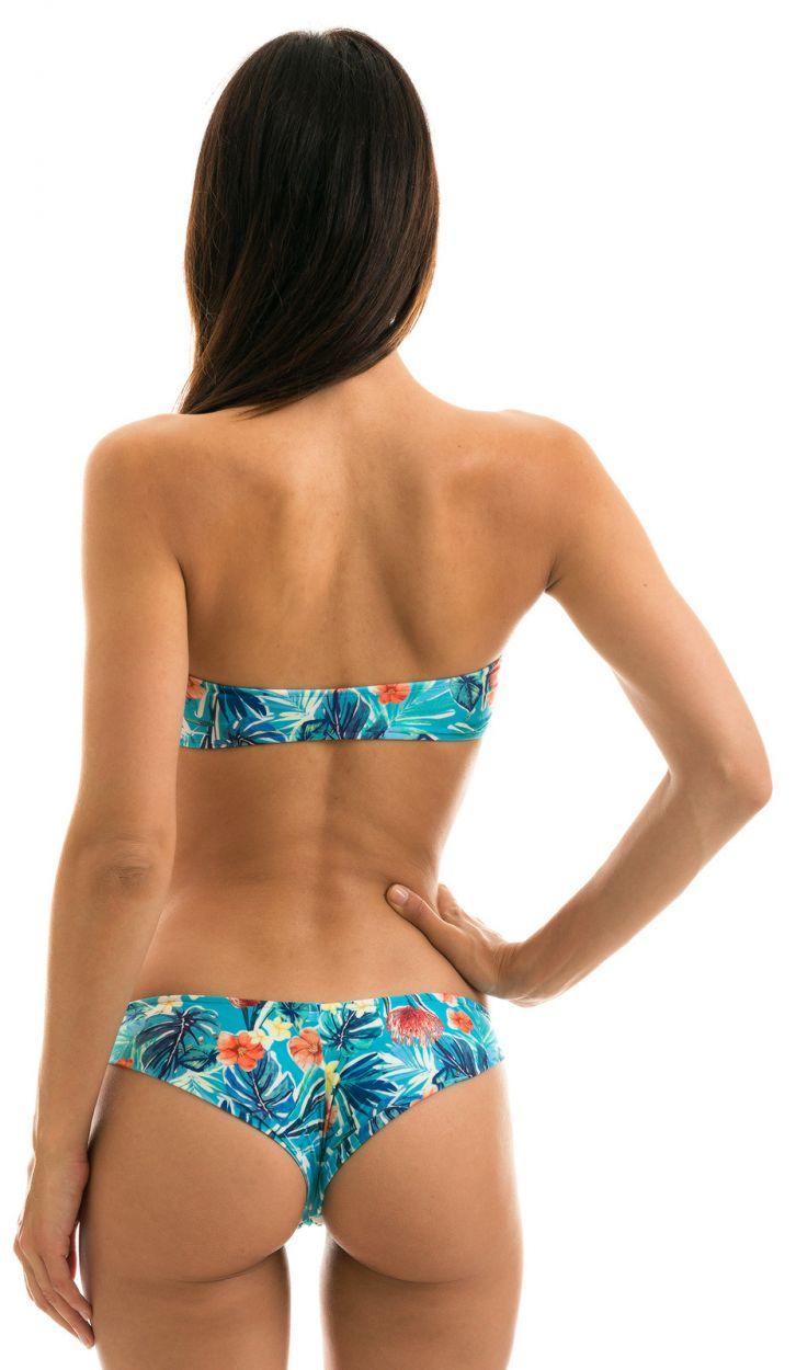 Floral blue fixed Brazilian cheeky bikini with bandeau top - ISLA RETO