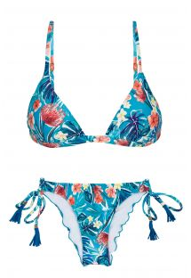 Blue floral adjustable Brazilian bikini with pompoms - ISLA TRI FIXO