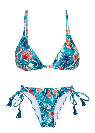 Bikini triangle fixe réglable bleu fleuri - ISLA TRI FIXO