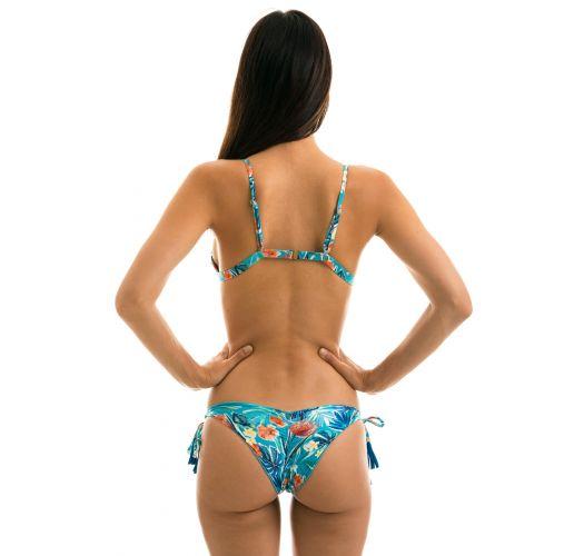 Blue floral adjustable Brazilian bikini with pompoms - ISLA TRI FIXO
