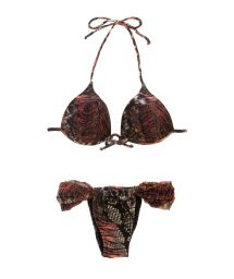 A jungle vibe is created by this beautiful Brazilian bikini that is unbelievably sexy and feminine with its animal print - JAGUAR