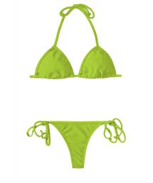 Apple green string bikini with a sliding triangle - JUREIA CORT MICRO