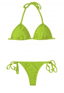 Apple green string bikini with a sliding triangle - JUREIA CORT MICRO
