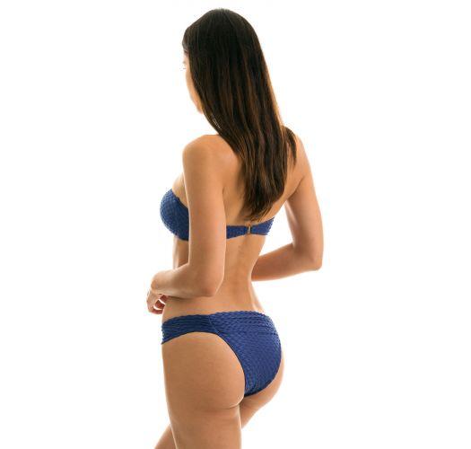 Teksturowane bikini bandeau w kolorze granatowym - KIWANDA DENIM BAND COMFORT