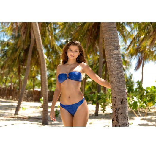 Navy blue textured Brazilian bikini with a bandeau top - KIWANDA DENIM BANDEAU