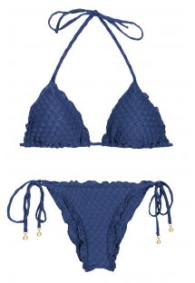 Blue wavy triangle scrunch bikini with textured fabric - KIWANDA DENIM FRUFRU