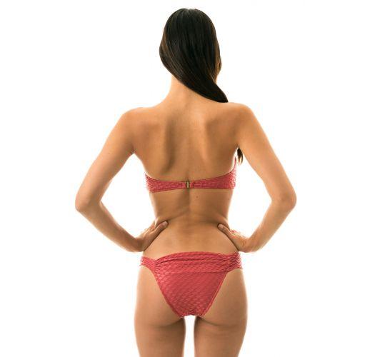 Teksturowane bikini bandeau w kolorze ceglanym - KIWANDA MADRAS BAND COMFORT