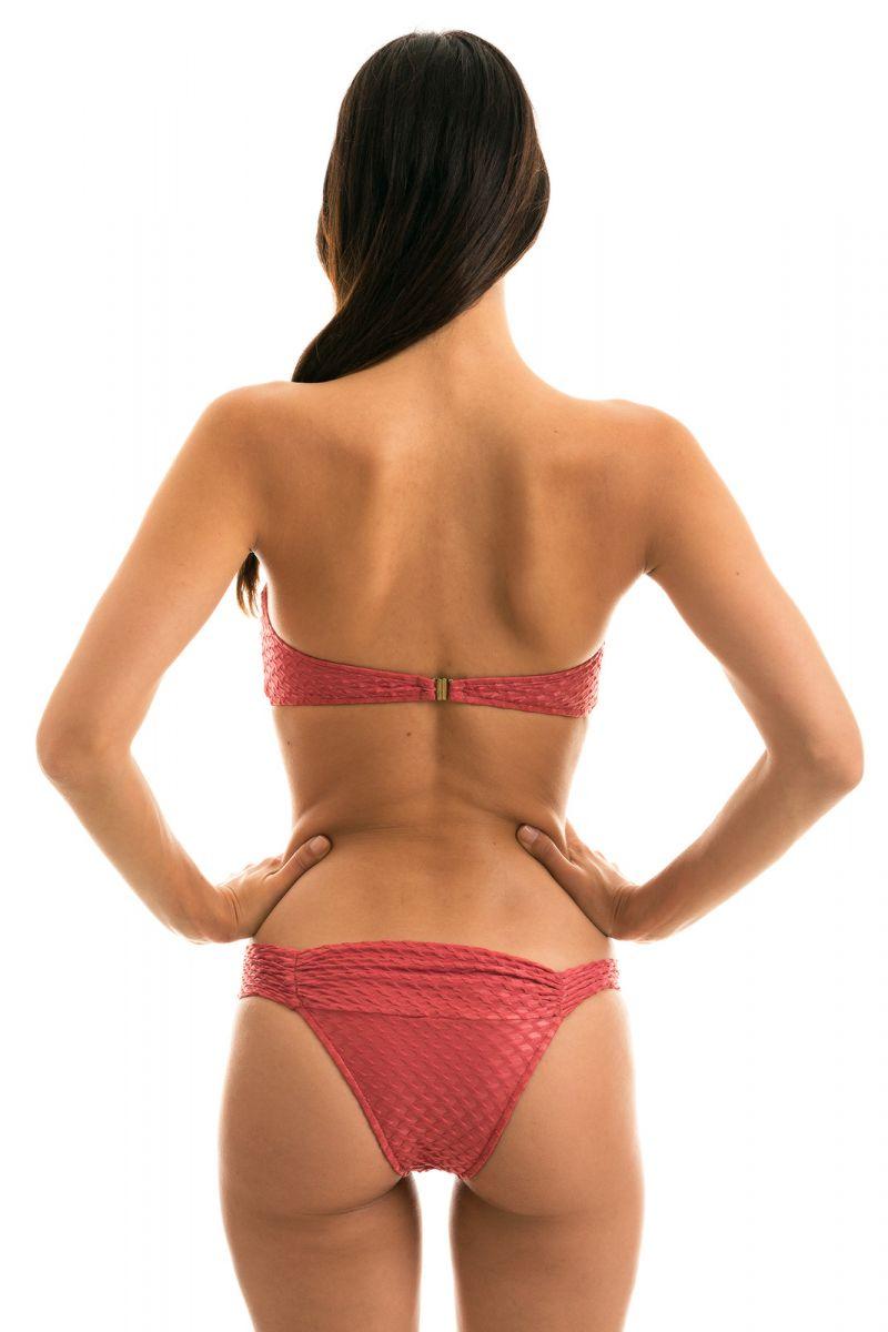 Brick color fixed bandeau bikini textured fabric - KIWANDA MADRAS BANDEAU