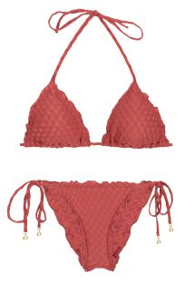 Brick textured fabric scrunch bikini - KIWANDA MADRAS FRU COMFORT