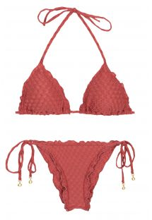 Brick red scrunch bikini wavy edges - KIWANDA MADRAS FRUFRU