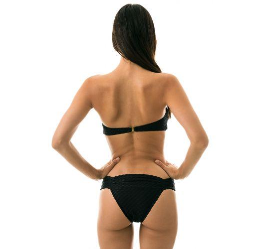 Teksturowane bikini bandeau w kolorze czarnym - KIWANDA PRETO BAND COMFORT