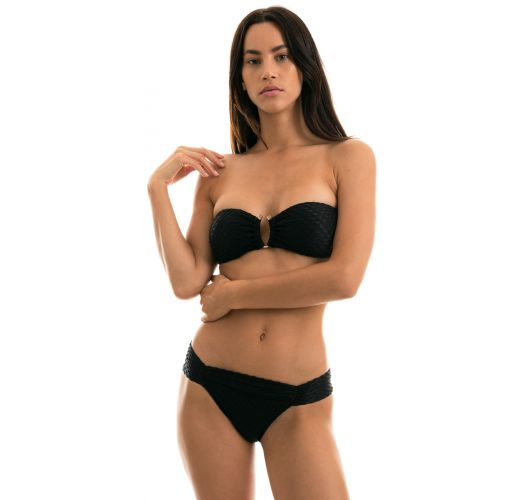 Black textured Brazilian bikini with a bandeau top - KIWANDA PRETO BANDEAU