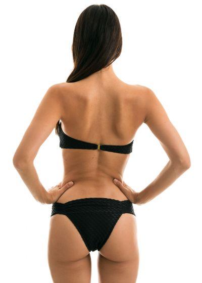 Black textured Brazilian bikini with a bandeau top - KIWANDA PRETO BANDEAU