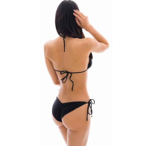 Black textured scrunch bikini - KIWANDA PRETO FRU COMFORT