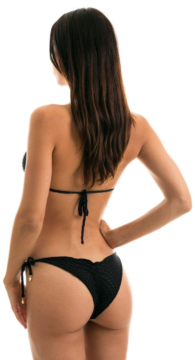 Black wavy and textured side-tie scrunch bikini - KIWANDA PRETO FRUFRU