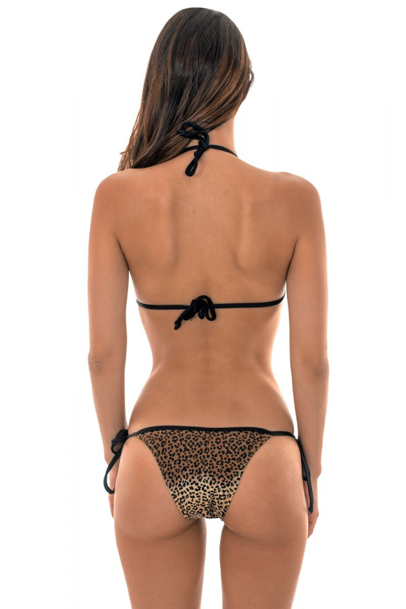Black Brazilian swimsuit with leopard print bottom - LACINHO ANIMAL PRINT