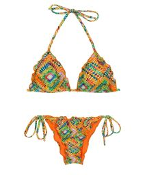 Scrunch bikini wavy edges in colorful geometric print - LAMPEDUSA FRUFRU