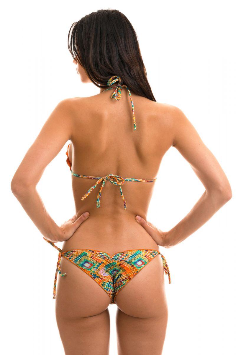 Rynkad bikini med vågiga kanter, färgstarkt geometriskt tryck - LAMPEDUSA FRUFRU