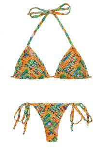 Side-tie string bikini in colorful geometric print - LAMPEDUSA MICRO