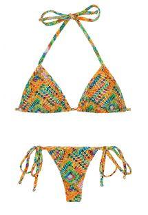 Maillot de bain string géométrique multicolore - LAMPEDUSA MICRO