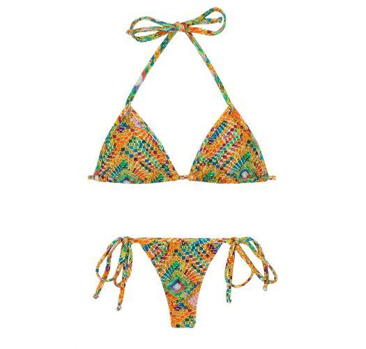Side-tie string bikini in colorful geometric print - LAMPEDUSA MICRO