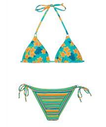 Brasiliansk bikini med ränder/blommönster - LEI CHEEKY
