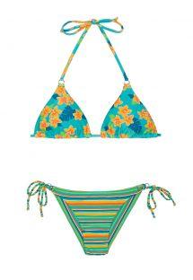 Floral and striped Brazilian bikini - LEI CHEEKY