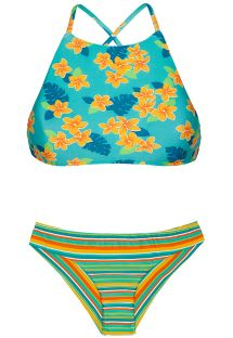 Crop top bikini with a mixture of colourful prints - LEI SPORTY