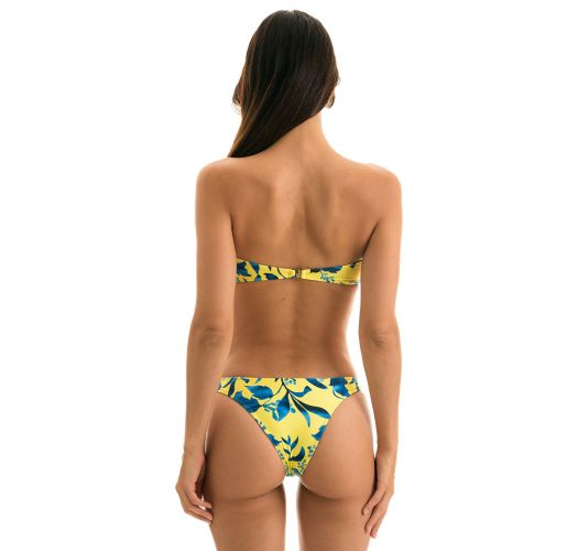 Plant yellow fixed Brazilian bikini with bandeau top - LEMON FLOWER BANDEAU