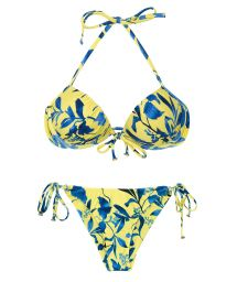 Yellow and blue print scrunch bikini - LEMON FLOWER COMFORT