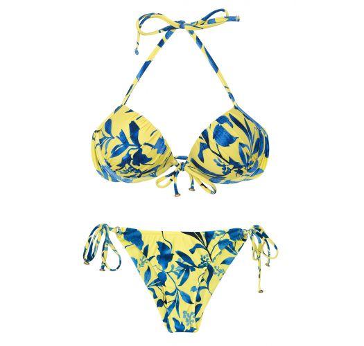 Yellow and blue print scrunch bikini - LEMON FLOWER COMFORT