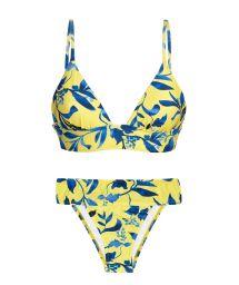 Yellow & blue fixed bikini with longline top - LEMON FLOWER COS COMFORT