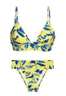 Yellow & blue fixed bikini with longline top - LEMON FLOWER COS COMFORT