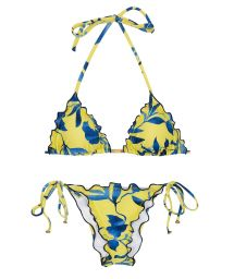 Accessorized plant yellow side tie scrunch bikini - LEMON FLOWER FRUFRU