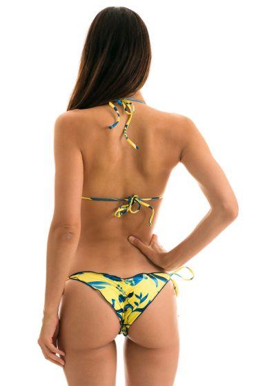 Gelb/blauer Scrunch-Bikini mit gewelltem Rand - LEMON FLOWER FRUFRU