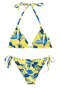 bikini brasiliano giallo con foglie con accessorio - LEMON FLOWER INVISIBLE